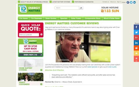 Screenshot of Testimonials Page energymatters.com.au - Energy Matters Solar Customer Reviews And Testimonials - captured Nov. 8, 2016