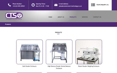 Screenshot of Products Page containment-technology.co.uk - Products - captured July 10, 2017