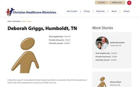 Screenshot of Testimonials Page chministries.org - Humboldt, TN              | Christian Healthcare Ministries - captured May 16, 2019