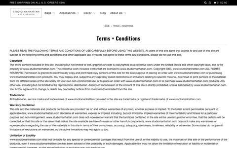 Terms + Conditions – Studio Manhattan