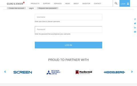Screenshot of Login Page glunz-jensen.com - User account   Glunz & Jensen - captured Nov. 5, 2018