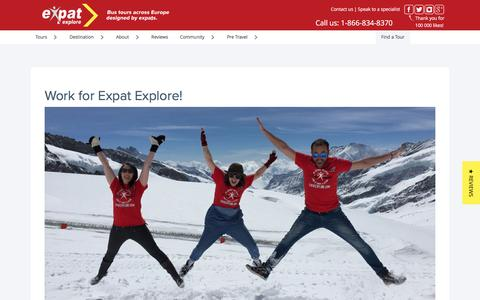 Screenshot of Jobs Page expatexplore.com - Work for us - Travel Careers at Expat Explore Travel - captured Oct. 26, 2016
