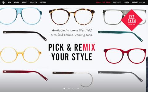Screenshot of Home Page Menu Page kitegb.com - Designer Glasses & Sunglasses Shop | KITE Opticians London - captured Sept. 30, 2014