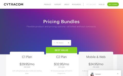 Screenshot of Pricing Page cytracom.com - Cytracom - Plans and Pricing - captured May 27, 2019