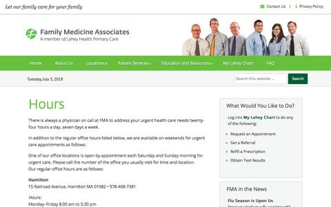 Screenshot of Hours Page familymedicineassociates.com - Hours | Family Medicine Associates - captured July 3, 2018