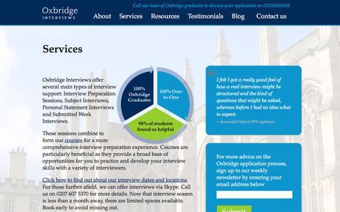 Screenshot of Services Page oxbridgeinterviews.co.uk - Oxbridge Interviews Services - Oxbridge Interviews - captured Aug. 14, 2016