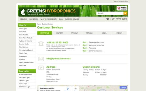 Screenshot of Privacy Page Contact Page hydroculture.co.uk - Contact Bristol's leading grow shop - Green's Horticulture - captured Jan. 20, 2016