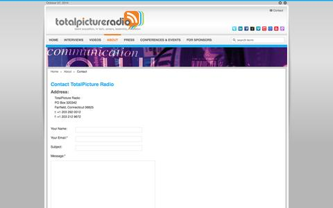 Screenshot of Contact Page totalpicture.com - Contact TotalPicture Radio | TotalPicture Radio | Podcast Career Advice and Leadership Development - captured Oct. 7, 2014