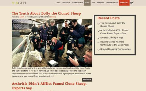 Screenshot of Press Page viagen.com - Livestock & Horse Cloning News - ViaGen Recent Posts ViaGen - captured Sept. 21, 2018