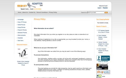 Screenshot of Privacy Page headsetadapter.com - Privacy Policy - Headset Adapter Co. - captured Oct. 2, 2014
