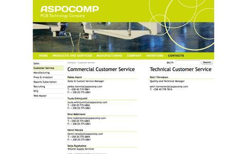 Screenshot of Support Page aspocomp.com - Customer Service | Aspocomp - captured July 26, 2016