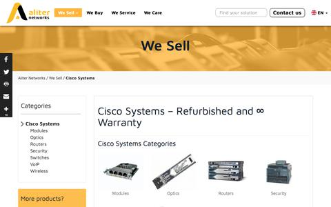 Screenshot of Products Page aliternetworks.com - Cisco Systems – Refurbished and ∞ Warranty - captured July 29, 2018