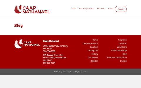 Screenshot of Blog campnathanael.com - Blog – Camp Nathanael - captured Nov. 4, 2018
