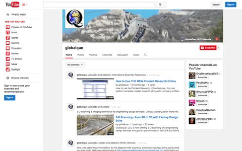 Screenshot of YouTube Page youtube.com - globalque  - YouTube - captured Oct. 23, 2014