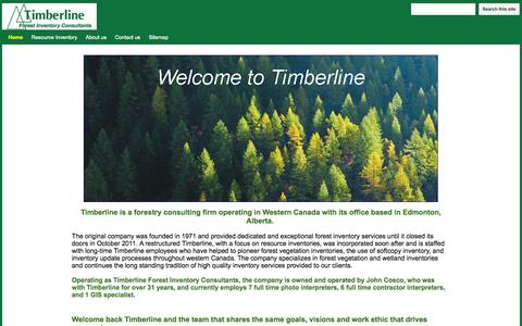 Screenshot of Home Page timberline.ca - Timberline Forest Inventory Consultants - captured Oct. 7, 2014