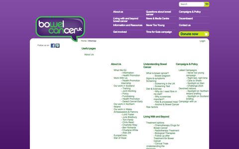 Screenshot of Site Map Page bowelcanceruk.org.uk - Bowel Cancer UK - captured Sept. 30, 2014