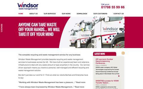 Screenshot of Home Page winwaste.com - Home - Windsor Waste Management - captured Feb. 14, 2016
