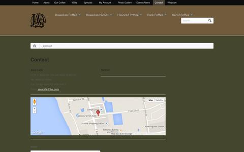 Screenshot of Contact Page javacafemaui.com - Contact - Java Cafe Maui - captured Oct. 6, 2014