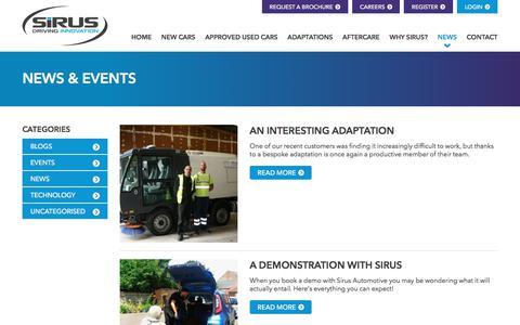 Screenshot of Press Page sirusautomotive.co.uk - News | Wheelchair Accessible Vehicles | Sirus Automotive - captured Nov. 13, 2017