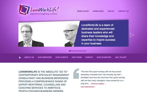 Screenshot of Home Page loveworklife.com - Management consultancy and business brokerage |LoveWorkLife | Consultancy services to ambitious business owners and directors - captured Sept. 30, 2014