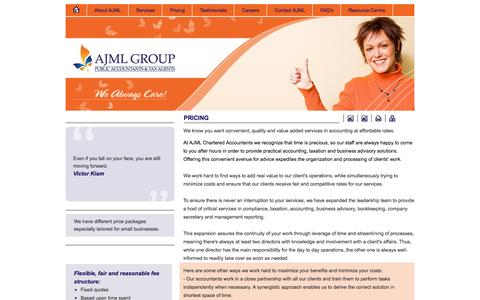 Screenshot of Pricing Page ajml.com.au - Pricing, Competitive Rates for Accounting Services | AJML Group - Sydney Australia - captured Oct. 4, 2014