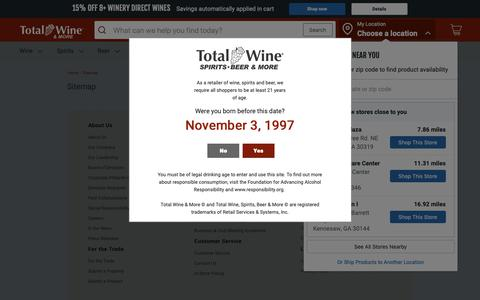 Screenshot of Site Map Page totalwine.com - Total Wine & More - captured Nov. 3, 2018