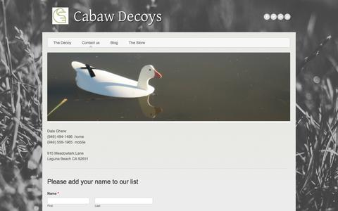 Screenshot of Contact Page weebly.com - Contact us - Cabaw Decoys - captured July 10, 2017