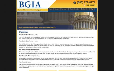 Screenshot of Maps & Directions Page bgiains.com - Business & Governmental Insurance Agency » Directions - captured Oct. 11, 2017