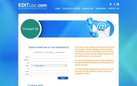 Screenshot of Contact Page editinc.com - EDITinc.com - Contact Us - captured Oct. 1, 2014