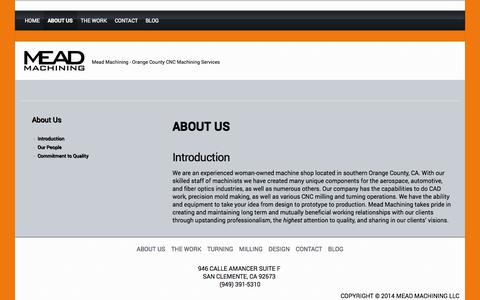 Screenshot of About Page meadmachining.com - ABOUT US - MEAD MACHINING - captured Oct. 27, 2014