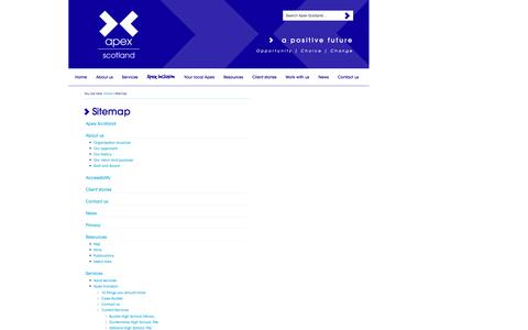 Screenshot of Site Map Page apexscotland.org.uk - Sitemap - captured Oct. 29, 2014