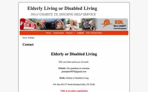Screenshot of Contact Page elderlyordisabledliving.com - Elderly or disabled living - captured May 7, 2017