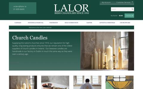 Screenshot of Home Page lalor.ie - Lalor - Irish Chandlers Since 1910 | Church Supplies and Church Candles - captured June 29, 2018