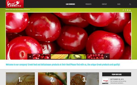 Screenshot of Home Page lead-commerce.com - Lead Commerce | Greek food and delicatessen products - captured Sept. 29, 2014
