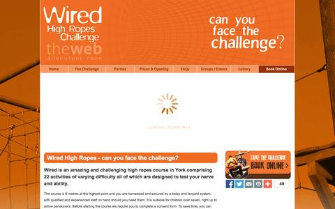 Screenshot of Home Page wiredropes.co.uk - Wired High Ropes Challenge, York - captured Oct. 7, 2014