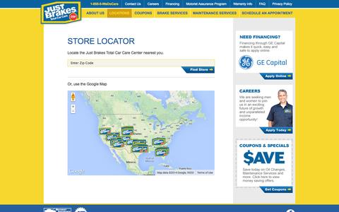 Screenshot of Locations Page justbrakes.com - Find a Nearby Just Brakes Total Car Care Service Center - captured Nov. 1, 2014