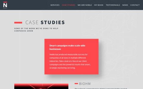 Screenshot of Case Studies Page nobledigital.com - Case Studies - Noble Digital - captured Sept. 21, 2018