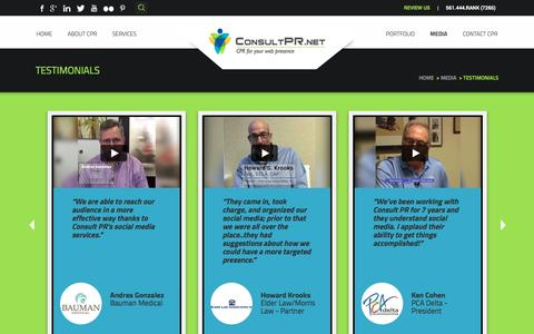 Screenshot of Testimonials Page consultpr.net captured May 21, 2017