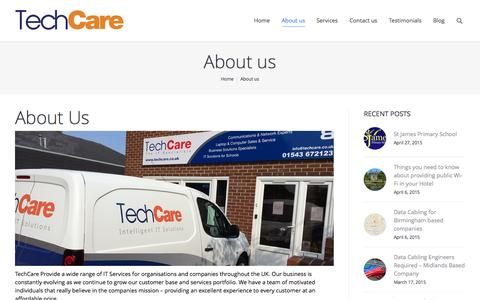 Screenshot of About Page techcare.co.uk - About us   TechCare - captured Aug. 15, 2015