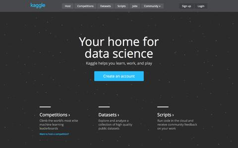 Screenshot of Home Page kaggle.com - Kaggle: The Home of Data Science - captured April 20, 2016