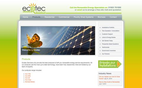 Screenshot of Products Page ecotecservices.co.uk - Heat pumps and heating systems Worcester, West Midlands  | Ecotec Services - captured Sept. 29, 2014