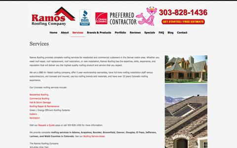Screenshot of Services Page ramosroofing.com - Roofing Services | Roofer Denver & Boulder CO | Ramos Roofing - captured Feb. 16, 2016