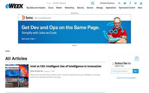 Screenshot of Press Page eweek.com - Tech News, Trends and Analysis - eWEEK.com - captured Jan. 21, 2020