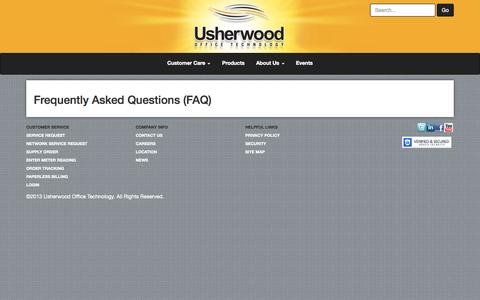 Screenshot of FAQ Page usherwood.com - Frequently Asked Questions - captured Oct. 26, 2014