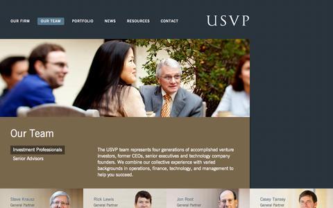 Screenshot of Team Page usvp.com - US Venture Partners - Our Team - captured Sept. 19, 2014