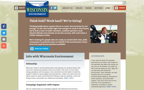 Screenshot of Jobs Page wisconsinenvironment.org - Think bold? Work hard? We're hiring! | Wisconsin Environment - captured Dec. 10, 2018
