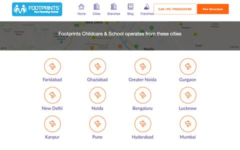 Screenshot of Locations Page footprintseducation.in - Best Play School & Day Care Chain: Footprints - captured Oct. 10, 2018
