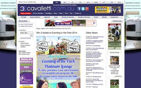 Screenshot of Press Page cavalletti.com.au - News Items - Equestrian Classifieds for WA, NSW, VIC, SA, NT, TAS and QLD - captured Jan. 15, 2016