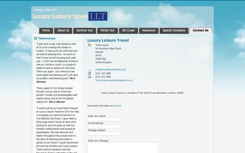 Screenshot of Contact Page luxuryleisuretravel.co.uk - Luxury Leisure Travel : Contact Us - captured Jan. 16, 2020