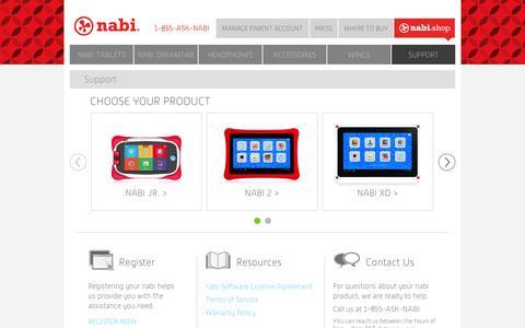 Screenshot of Support Page nabitablet.com - nabi Dual Mode Kid Safe Android Tablets - Support - captured Sept. 11, 2014